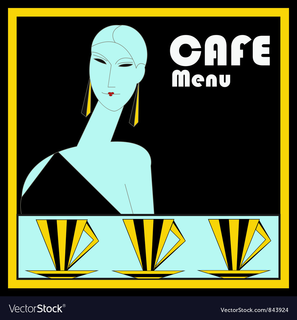 Art deco cafe menu template vector | Price: 1 Credit (USD $1)