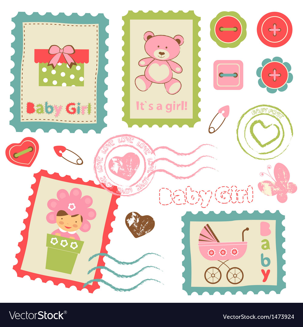 Baby girl stamp2 vector | Price: 1 Credit (USD $1)