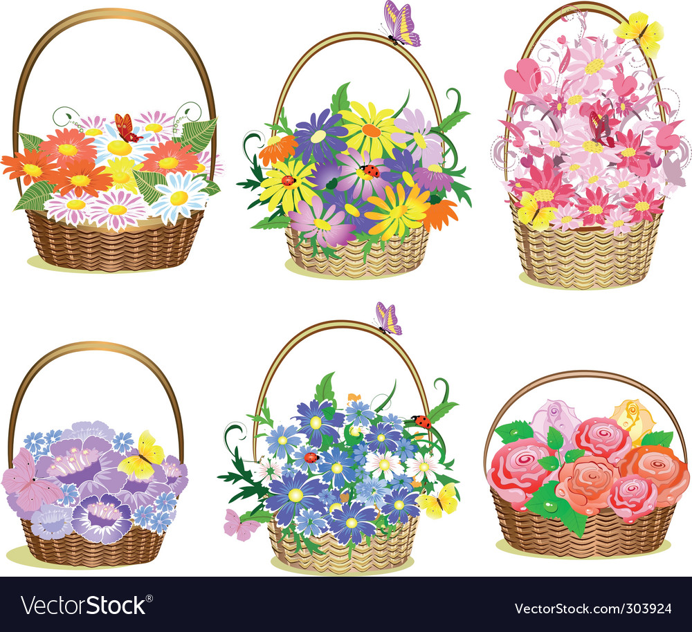 Baskets of flowers vector | Price: 1 Credit (USD $1)