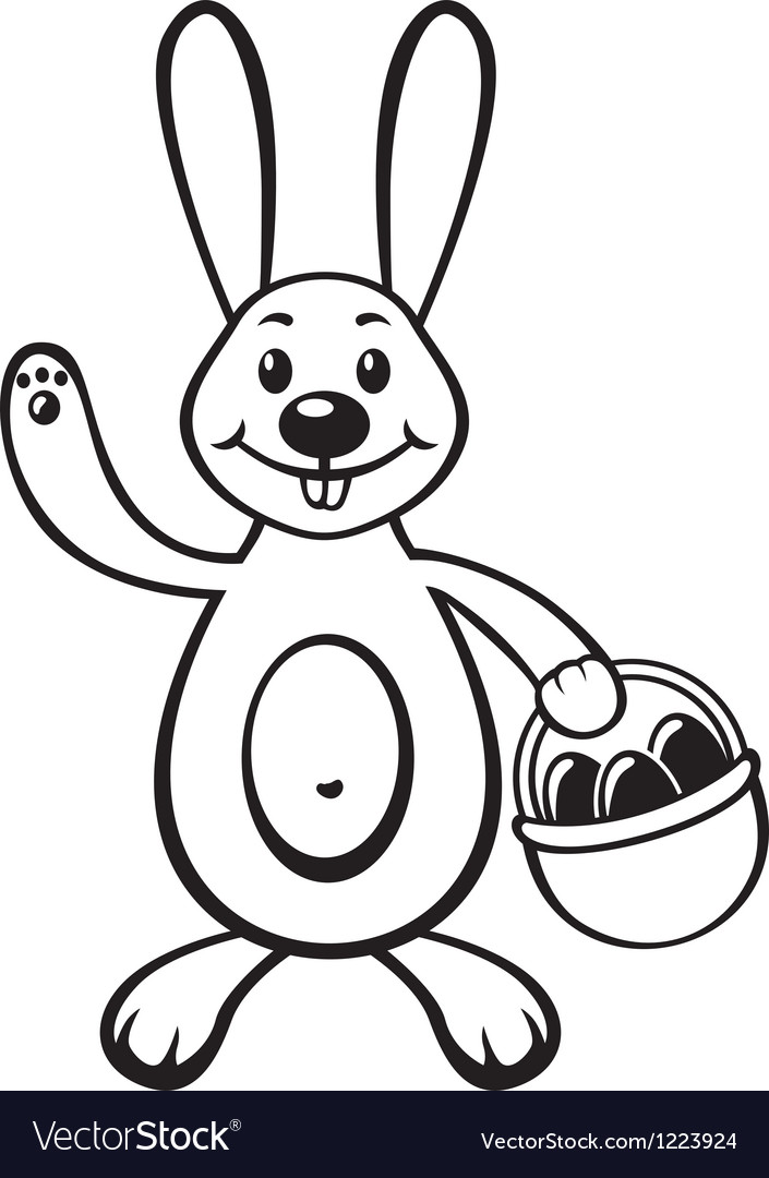 Bunny with basket vector | Price: 1 Credit (USD $1)