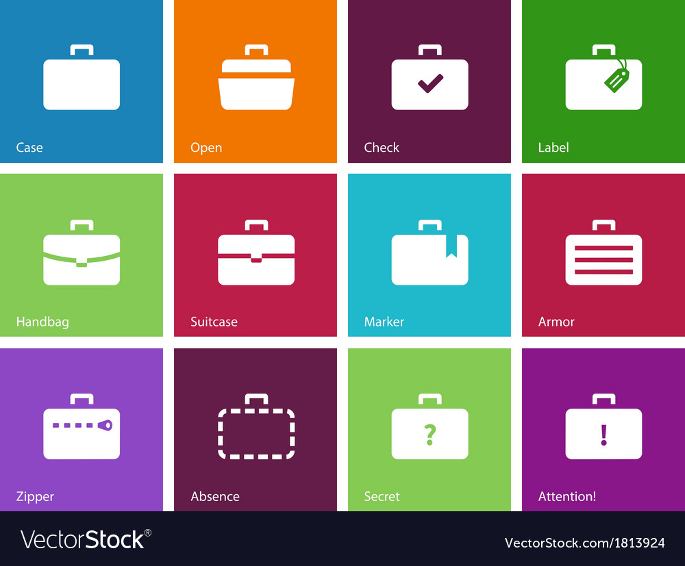 Case icons traveling bags and luggage vector | Price: 1 Credit (USD $1)