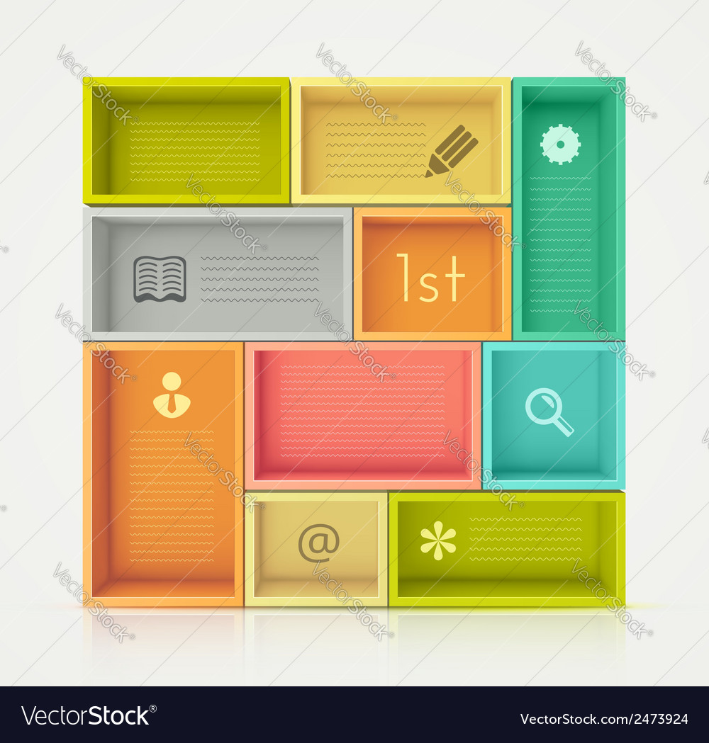 Colorful shelves for design vector | Price: 1 Credit (USD $1)