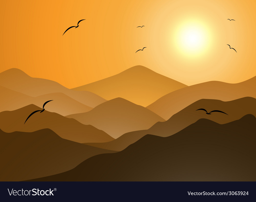 Evening mountains and sunset vector | Price: 1 Credit (USD $1)