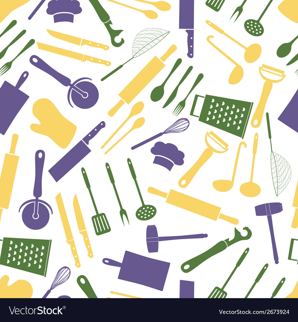 Home kitchen cooking utensils color pattern eps10 vector | Price: 1 Credit (USD $1)