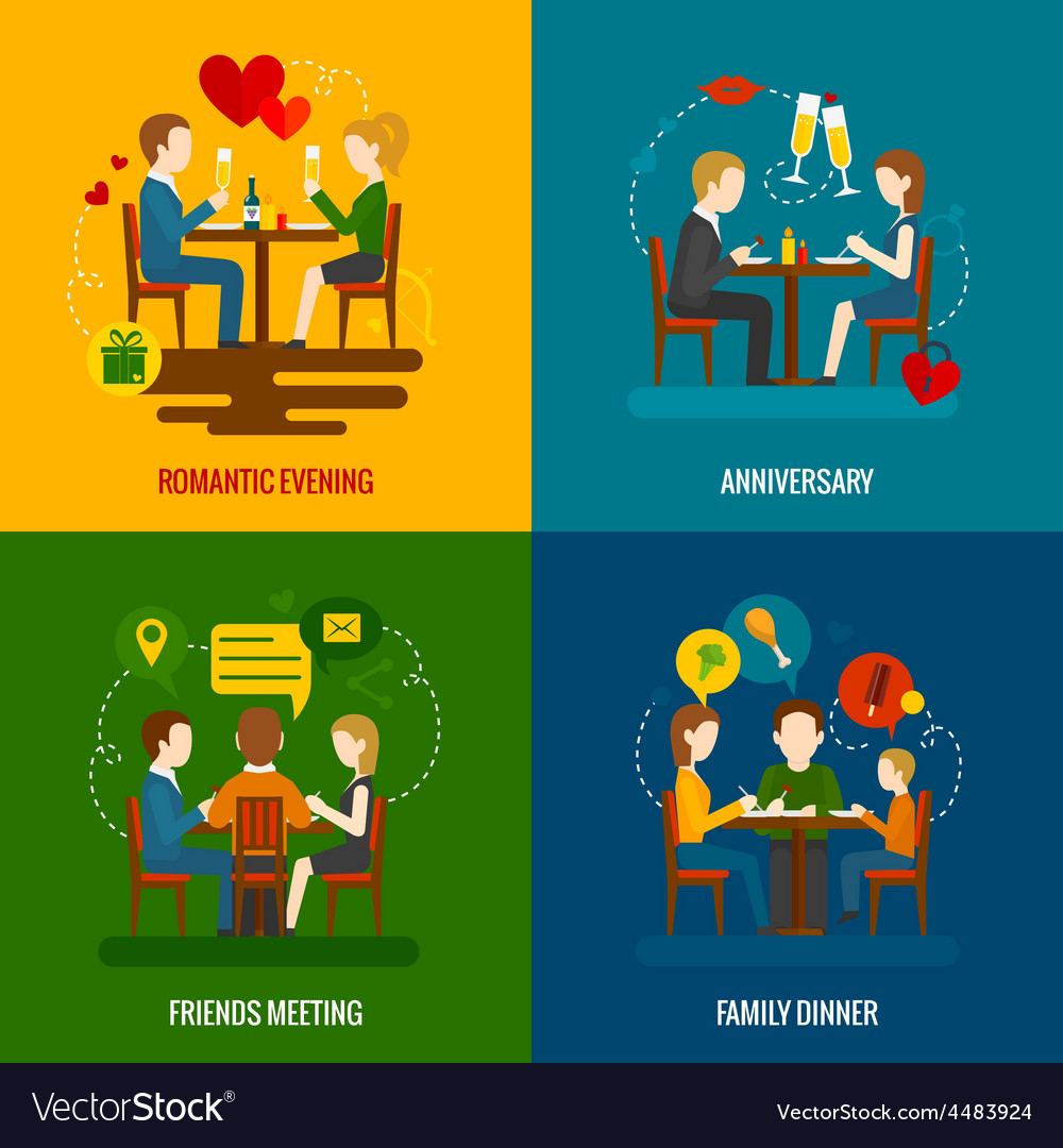 People in restaurant set vector | Price: 1 Credit (USD $1)
