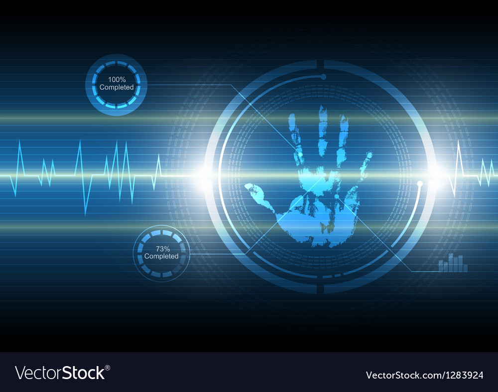 Scan handprint technology background vector | Price: 1 Credit (USD $1)