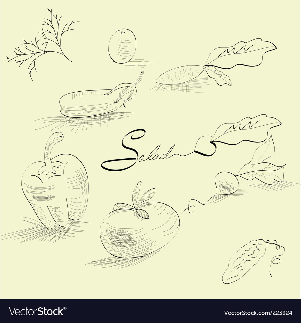 Sketch with vegetables vector | Price: 1 Credit (USD $1)