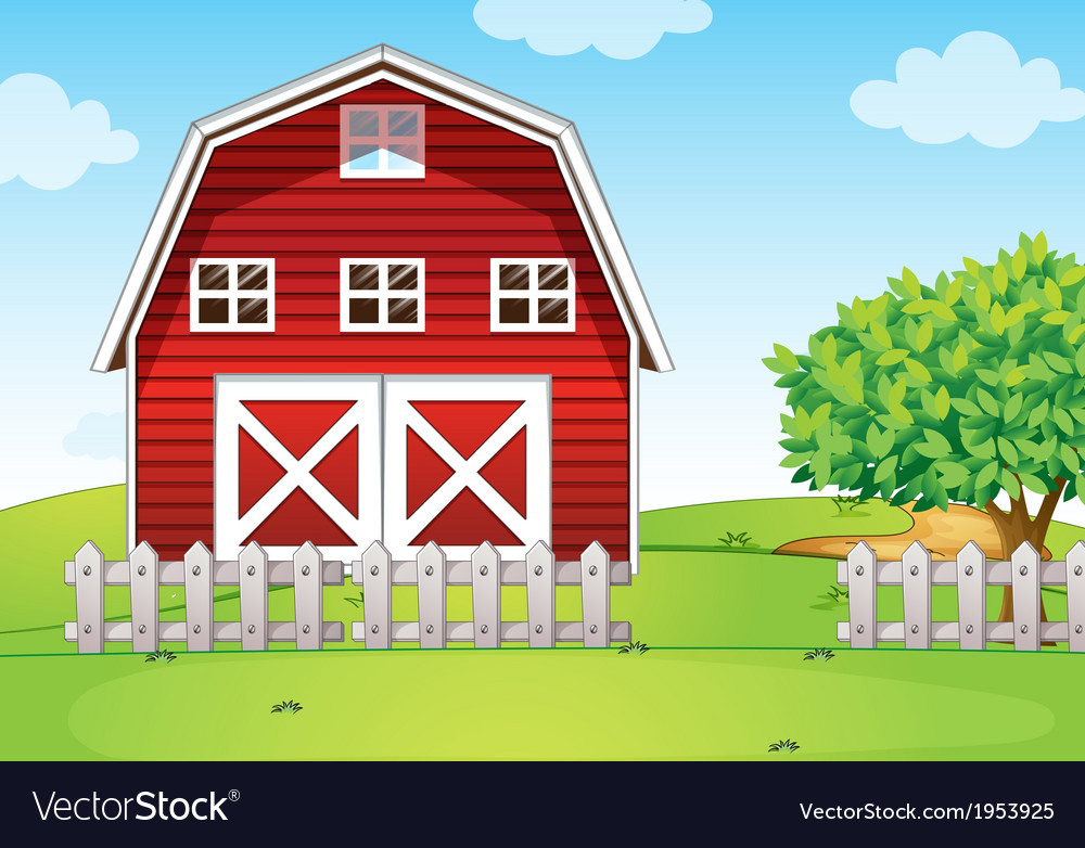 A barnhouse at the hilltop vector | Price: 1 Credit (USD $1)