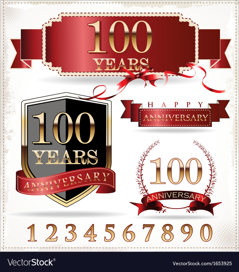 Anniversary red and gold labels vector | Price: 1 Credit (USD $1)