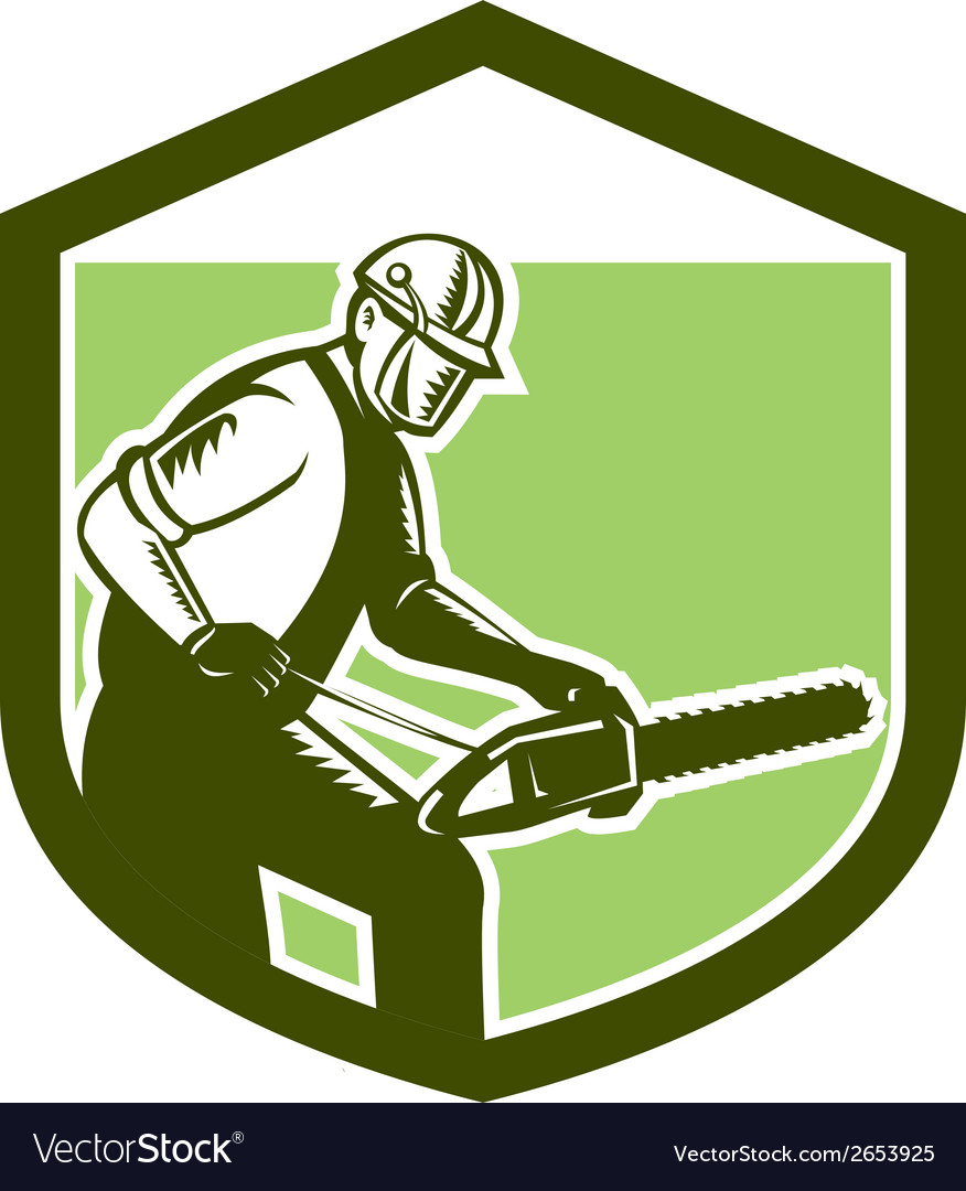 Arborist tree surgeon lumberjack chainsaw woodcut vector | Price: 1 Credit (USD $1)