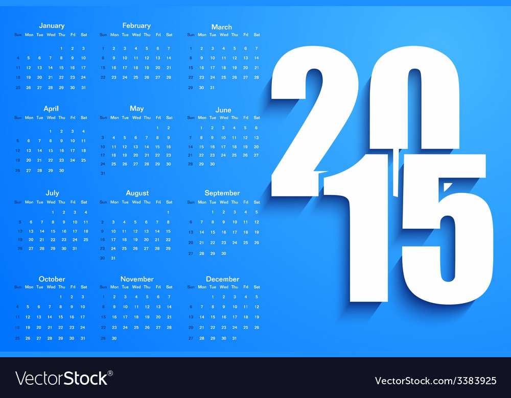 Blue 2015 calendar vector | Price: 1 Credit (USD $1)