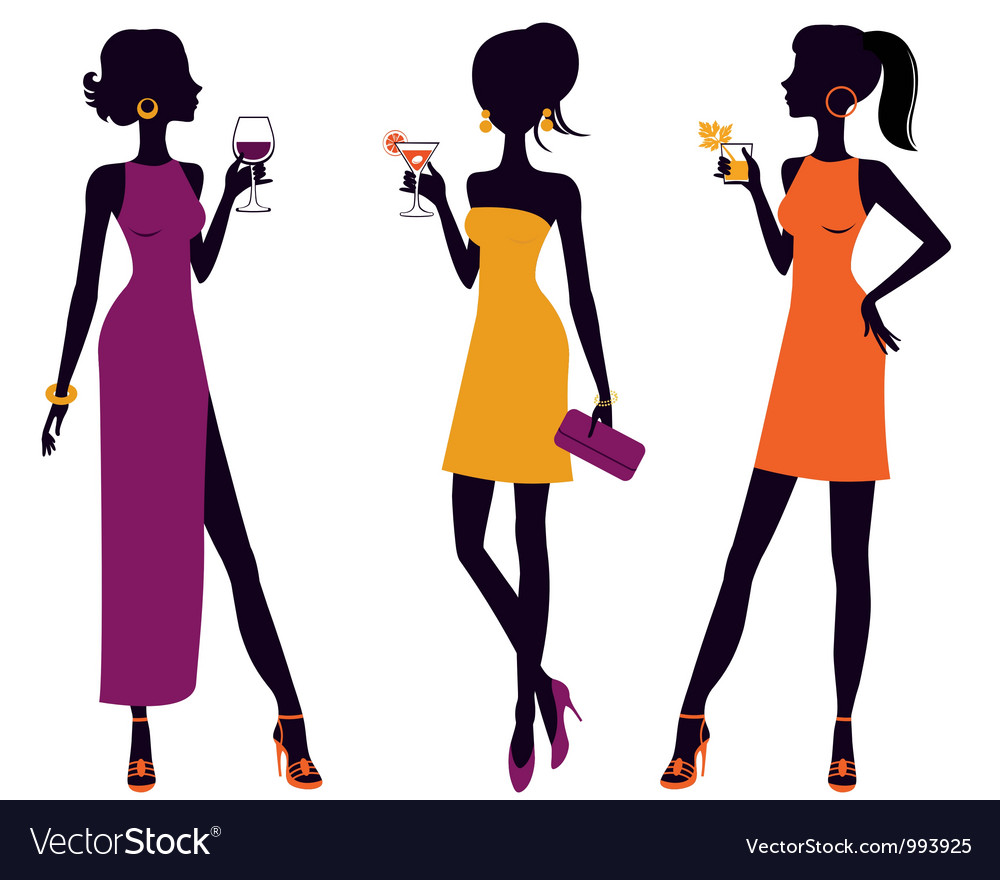 Cocktail party girls vector | Price: 1 Credit (USD $1)