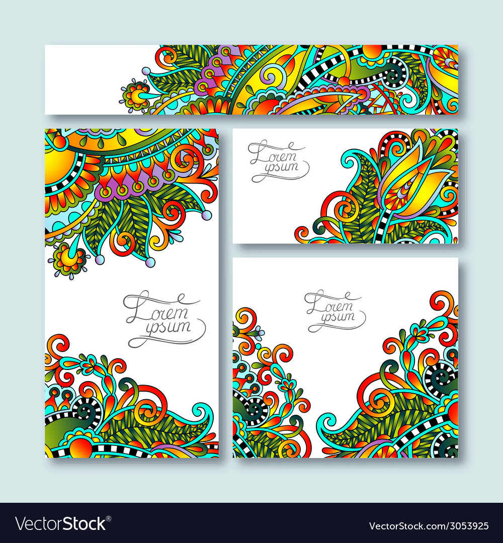 Collection of decorative floral greeting cards in vector   Price: 1 Credit (USD $1)