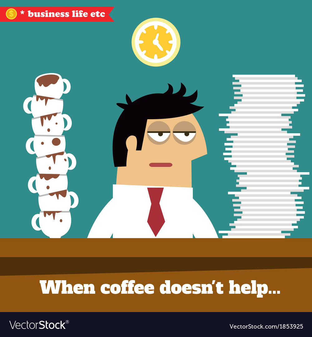 Fatigued and exhausted executive late at work vector | Price: 1 Credit (USD $1)
