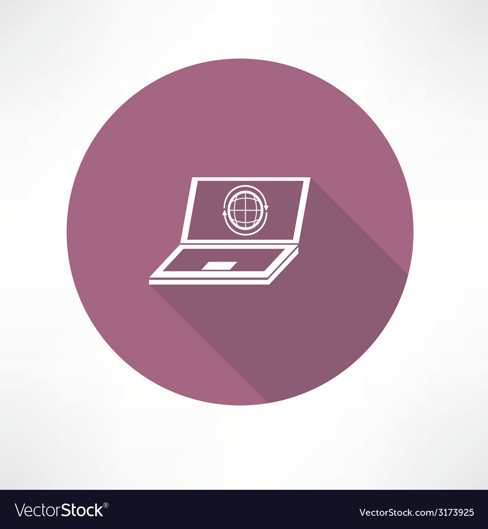 Laptop with internet icon vector | Price: 1 Credit (USD $1)