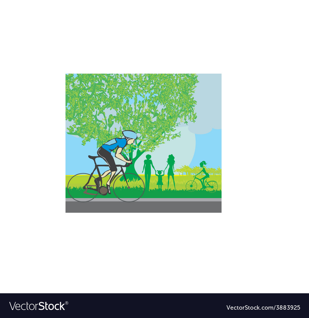 Man riding a bike in the park vector | Price: 1 Credit (USD $1)