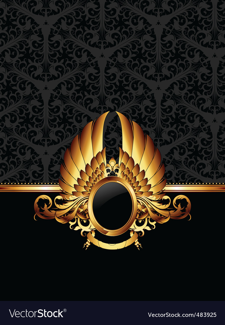 Ornate frame with golden label vector | Price: 1 Credit (USD $1)