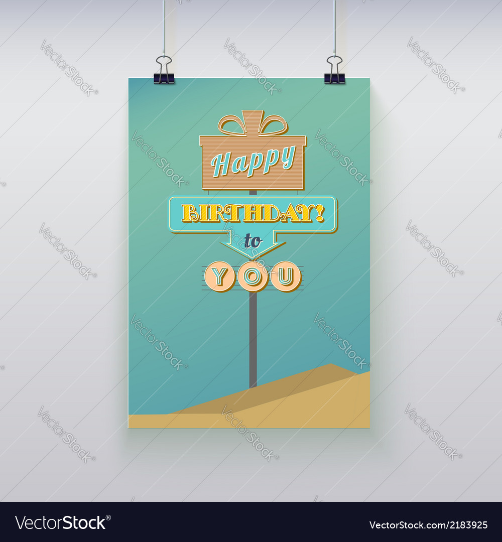 Poster hanging with birthday greetings vector | Price: 1 Credit (USD $1)