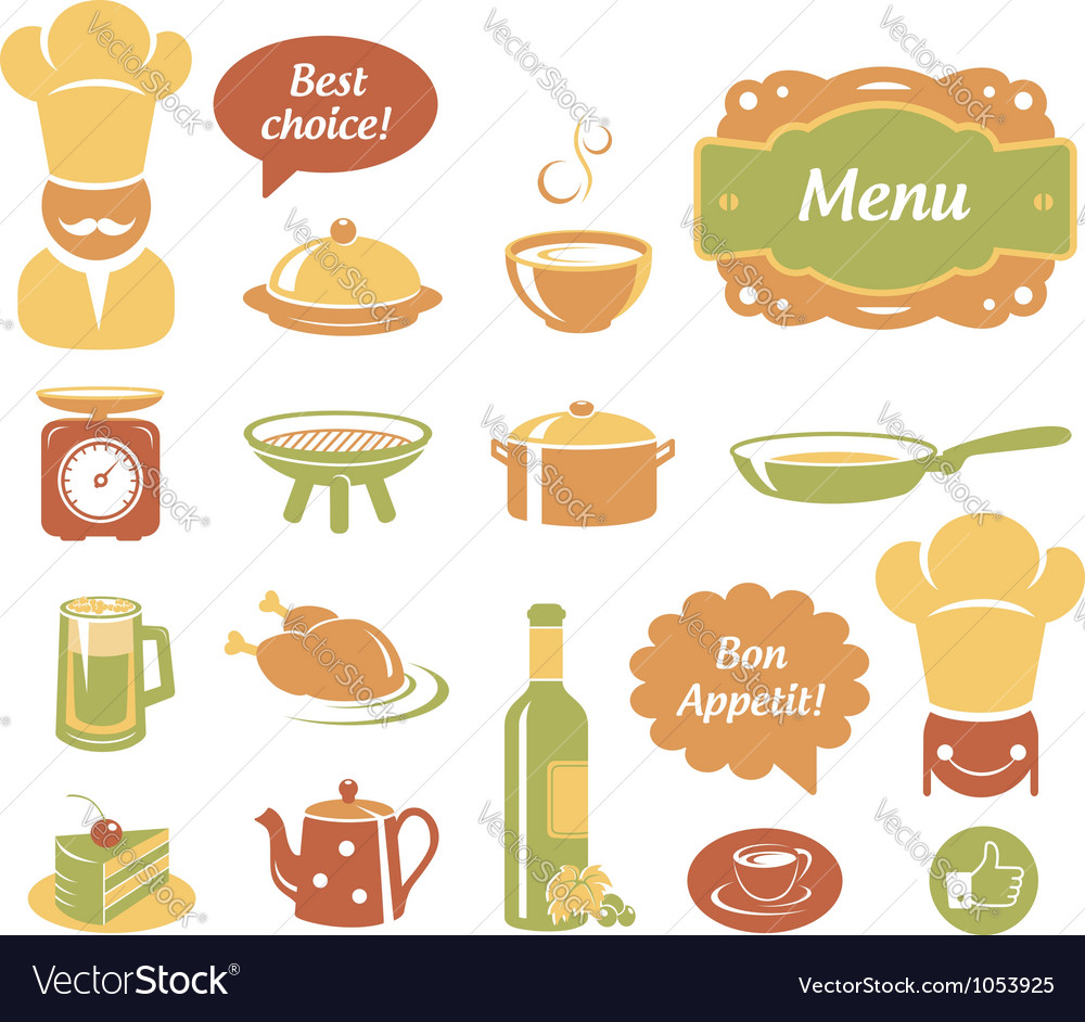Restaurant and kitchen icons set vector | Price:  Credit (USD $)