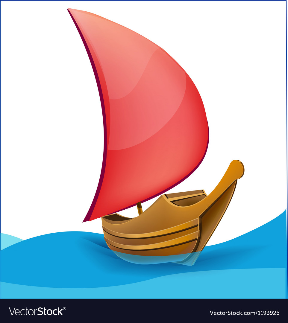Romantic boat with red sail vector | Price: 1 Credit (USD $1)