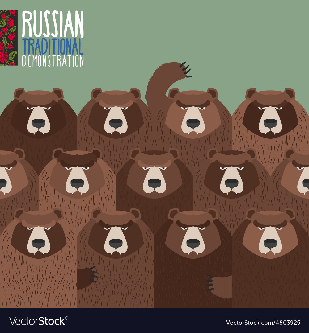 Russian national demonstration bears came out on vector | Price: 1 Credit (USD $1)