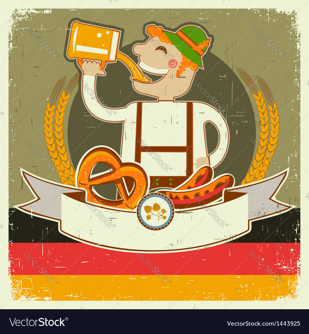 Vintage oktoberfest posterl with german man and vector | Price: 3 Credit (USD $3)