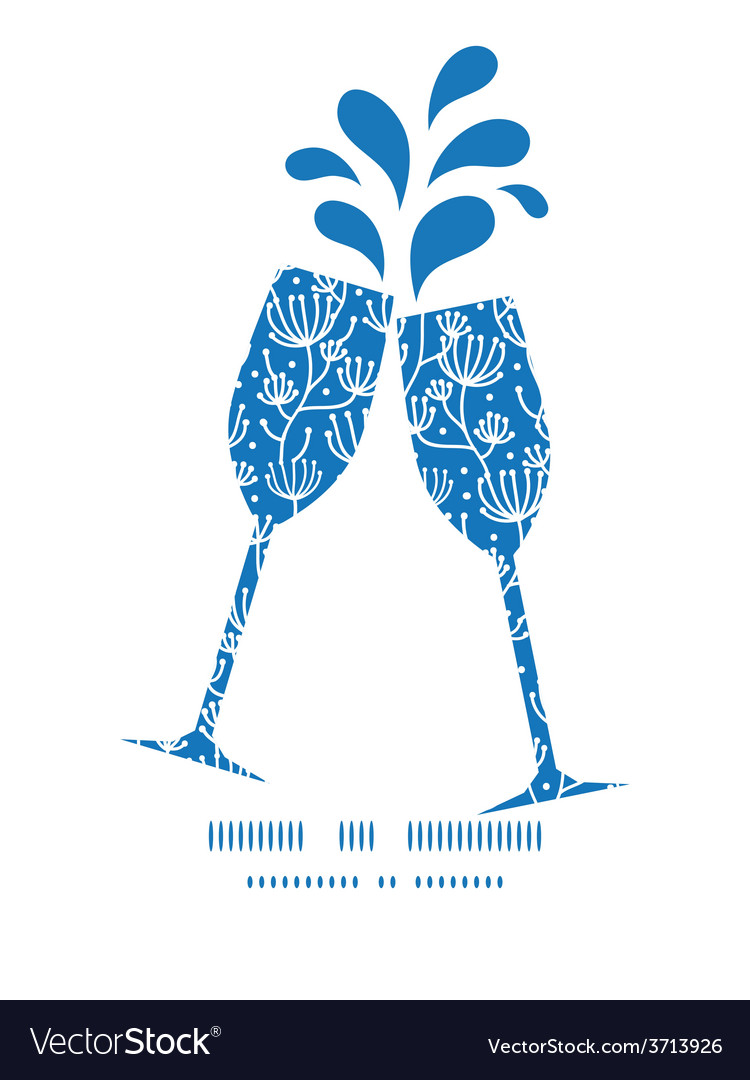Blue white lineart plants toasting wine vector | Price: 1 Credit (USD $1)