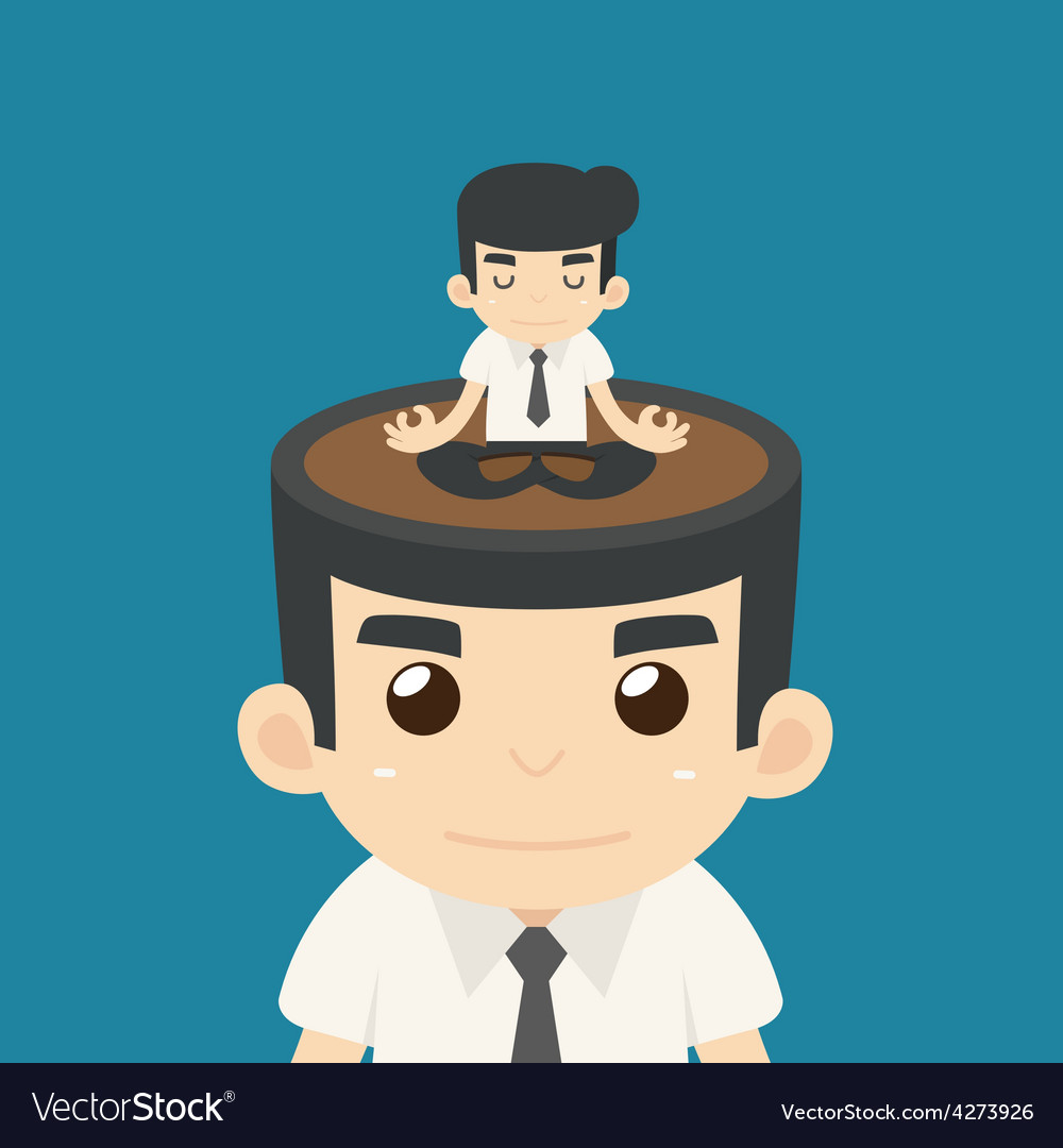 Businessman meditating in yoga vector