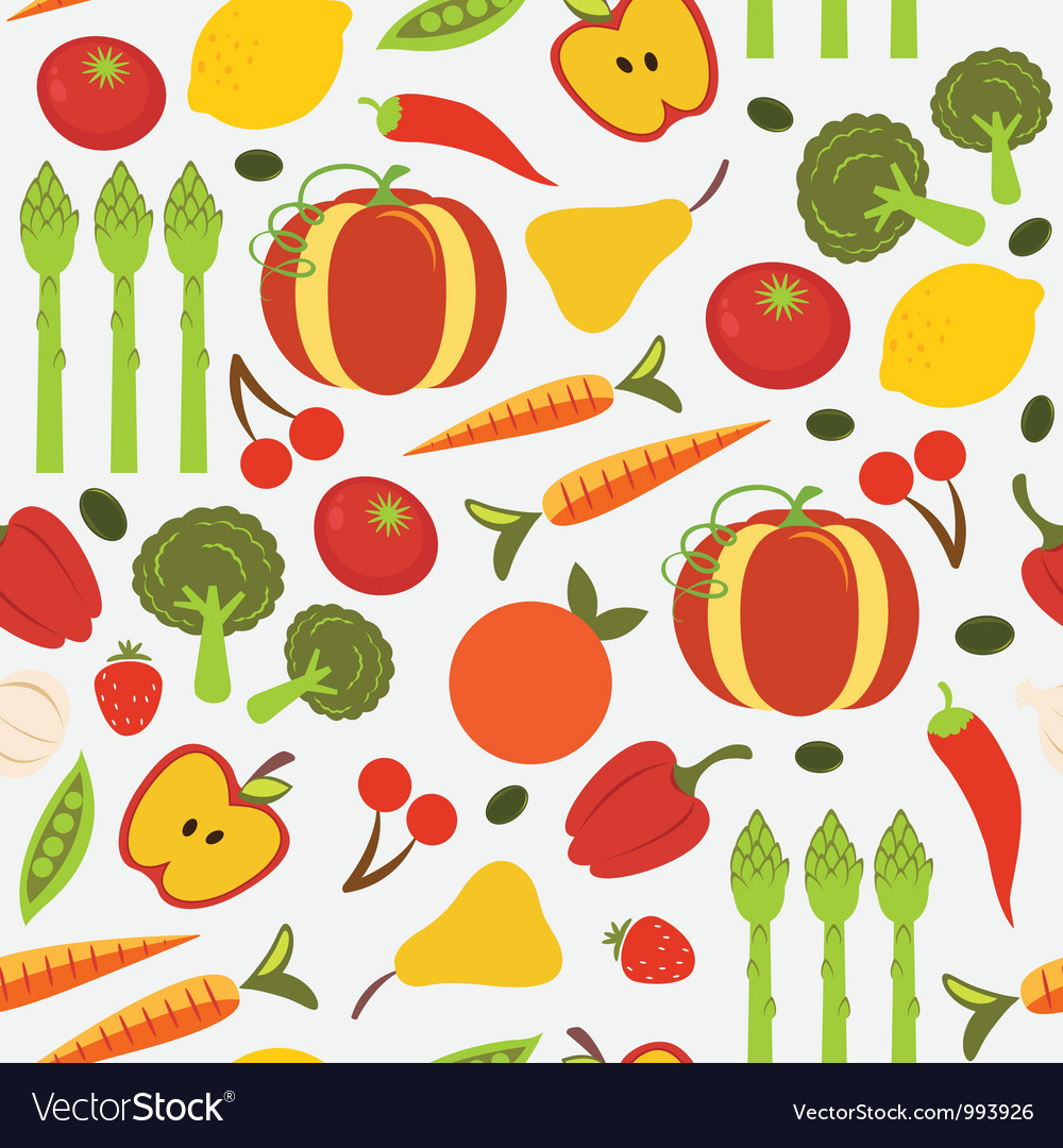 Colorful fruit and vegetables seamless pattern vector | Price: 3 Credit (USD $3)