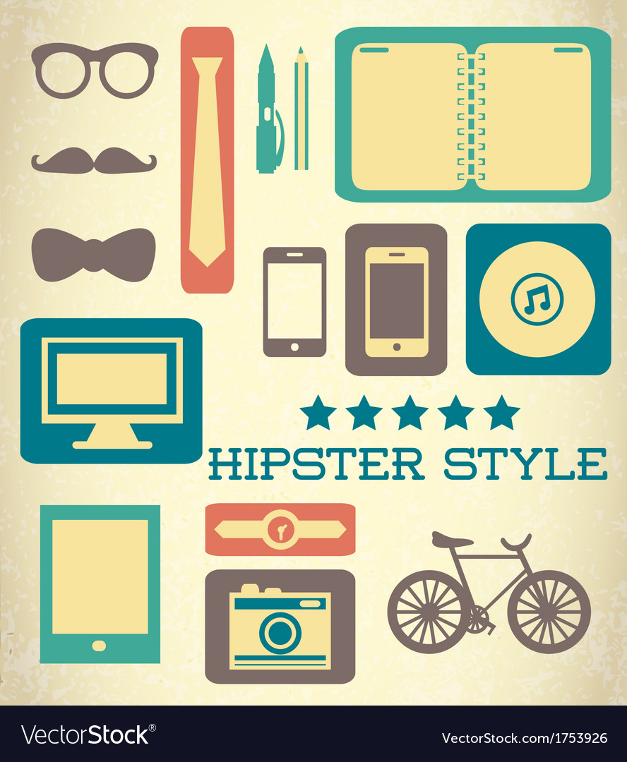 Flat hipster set of web elements vector | Price: 1 Credit (USD $1)