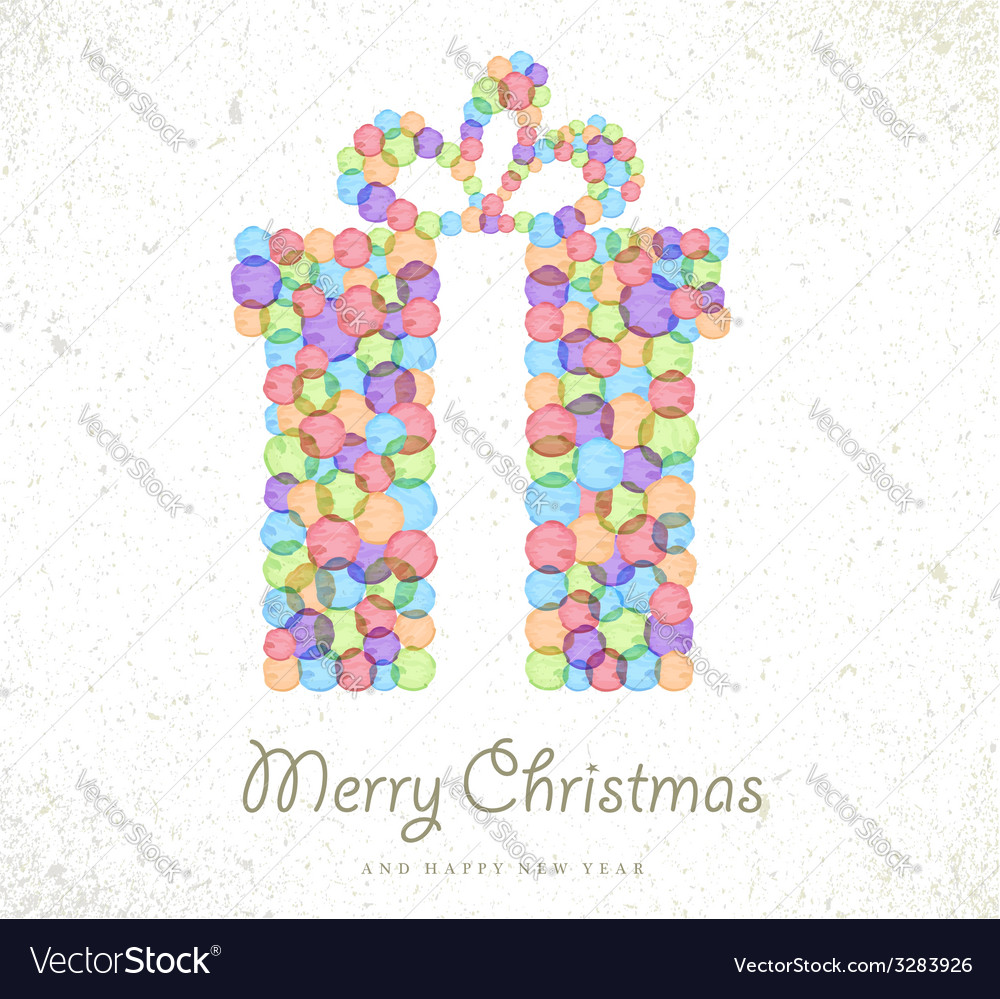 Merry christmas watercolor gift card background vector
