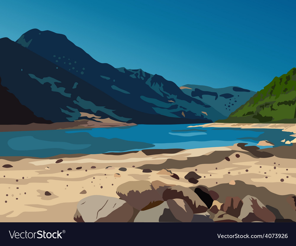 Mountains and lake vector | Price: 3 Credit (USD $3)