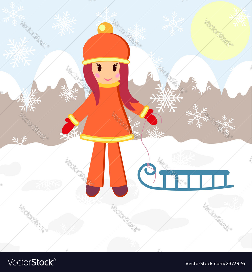 Winter girl and sledge vector | Price: 1 Credit (USD $1)
