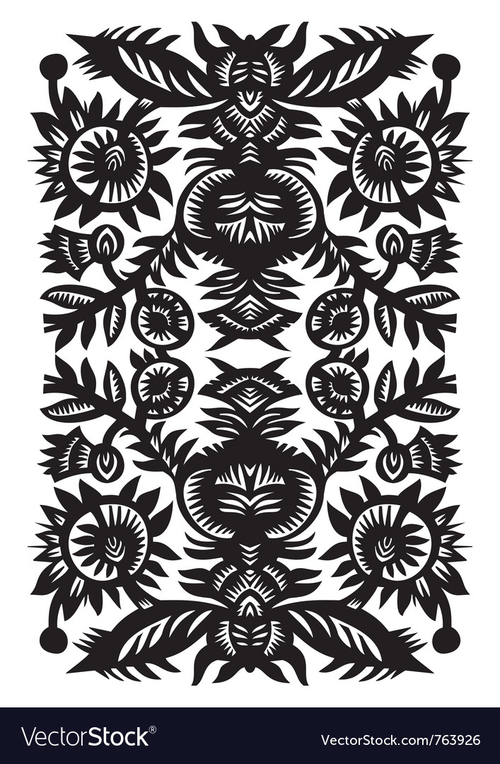 Wood cut floral pattern vector | Price: 1 Credit (USD $1)
