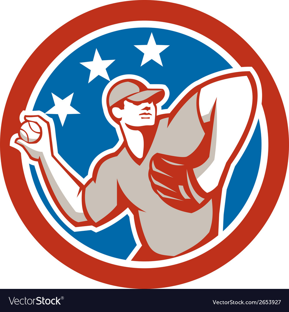 American baseball pitcher throwing ball circle vector | Price: 1 Credit (USD $1)