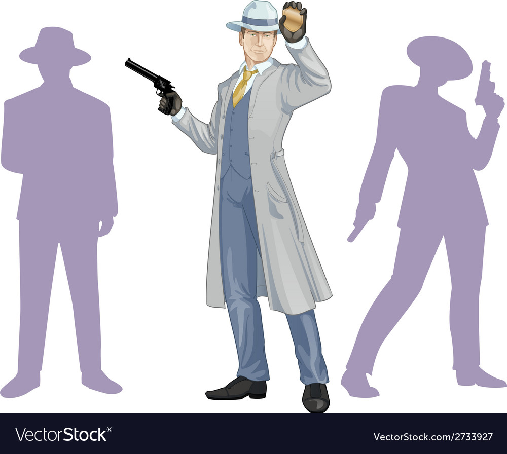 Caucasian police chief and people silhouettes vector | Price: 1 Credit (USD $1)