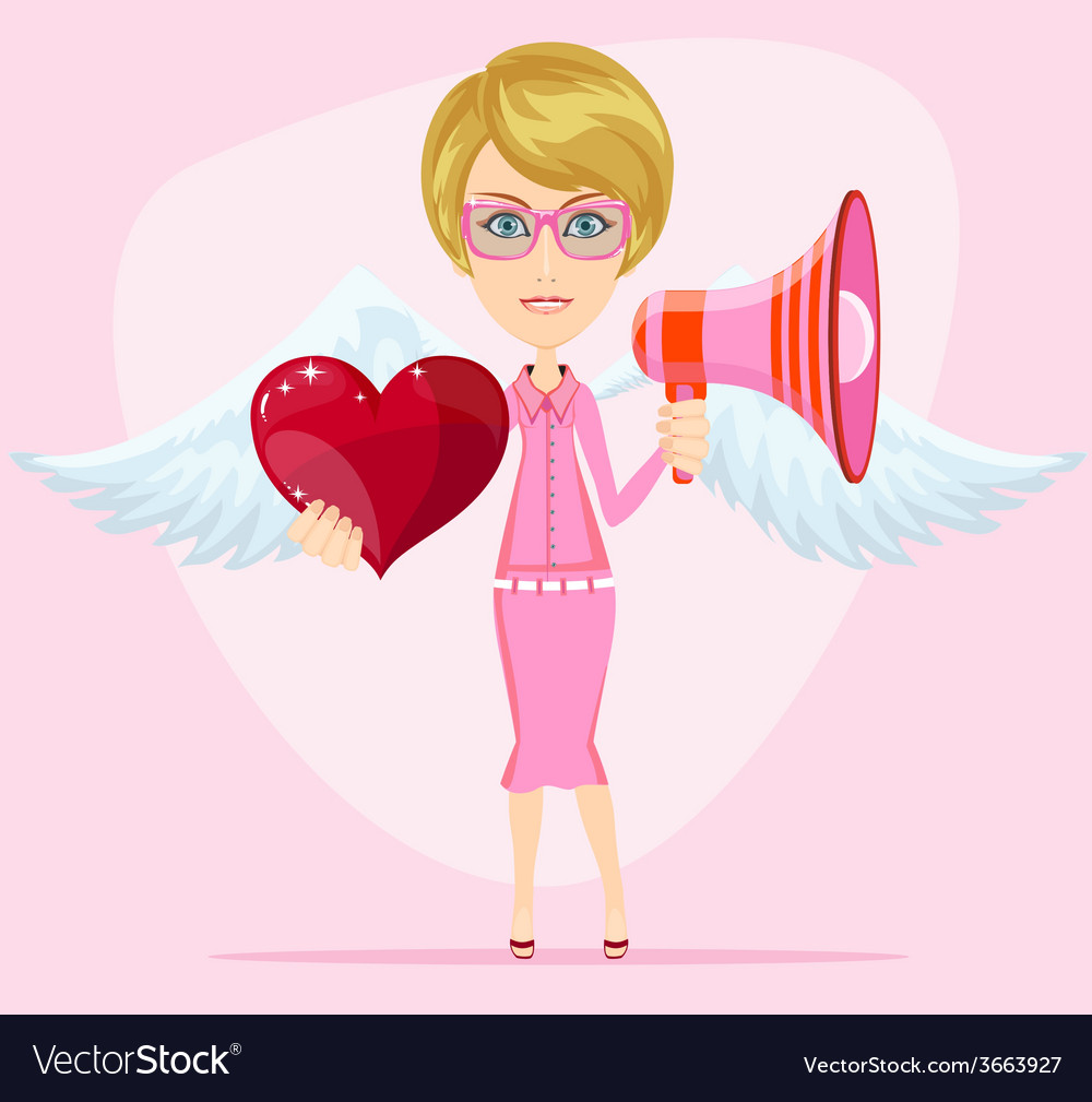 Female messenger angel with beautiful wings gives vector | Price: 1 Credit (USD $1)