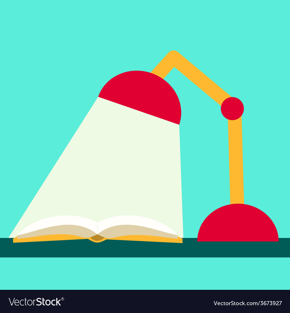 Flat design reading book book and lamp vector | Price: 1 Credit (USD $1)