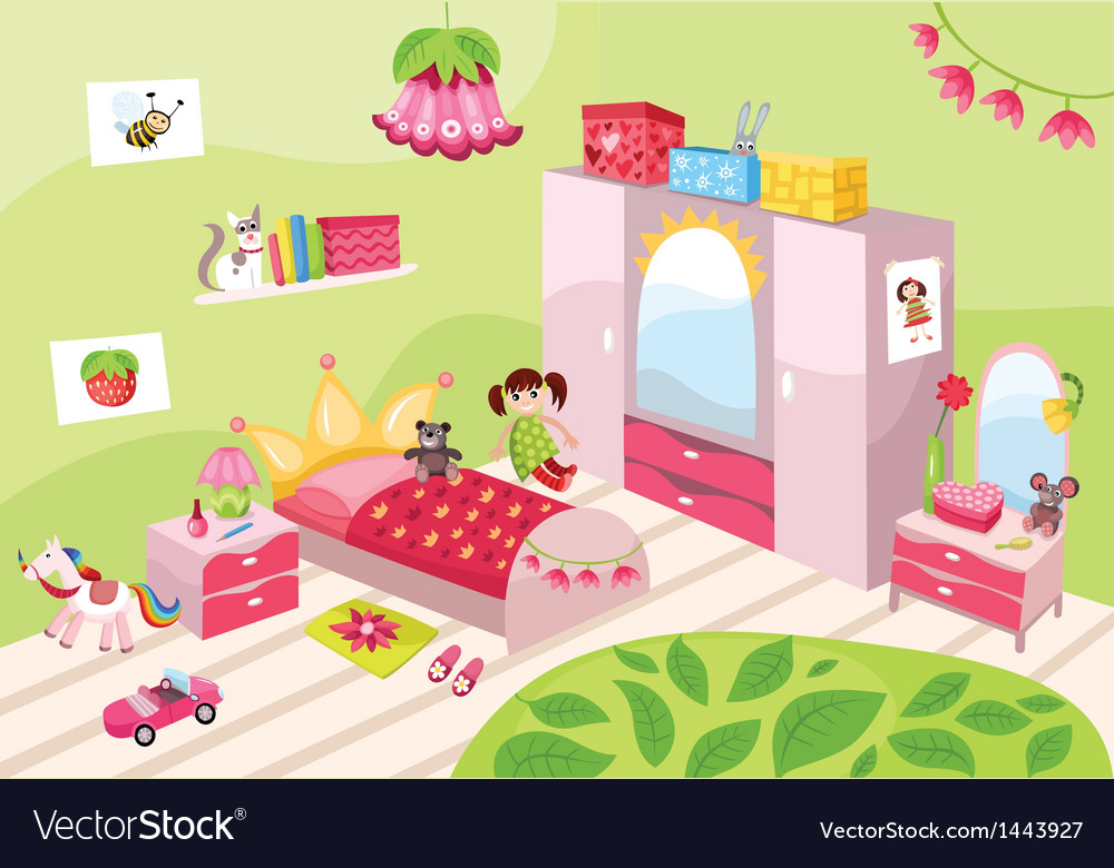 Girls pink room vector | Price: 1 Credit (USD $1)