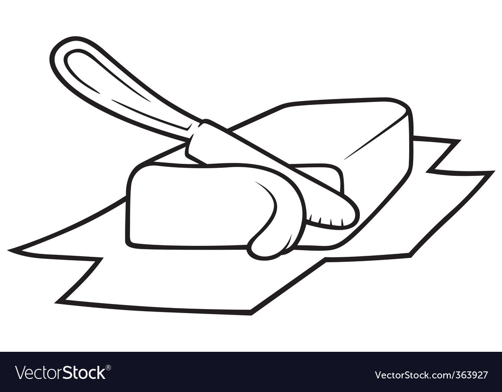 Knife cutting butter vector | Price: 1 Credit (USD $1)