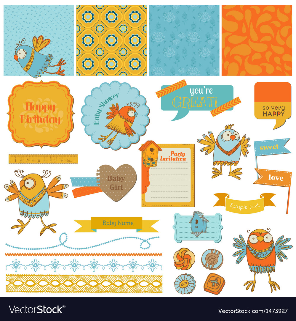 Scrapbook design elements - cute birds vector | Price: 3 Credit (USD $3)