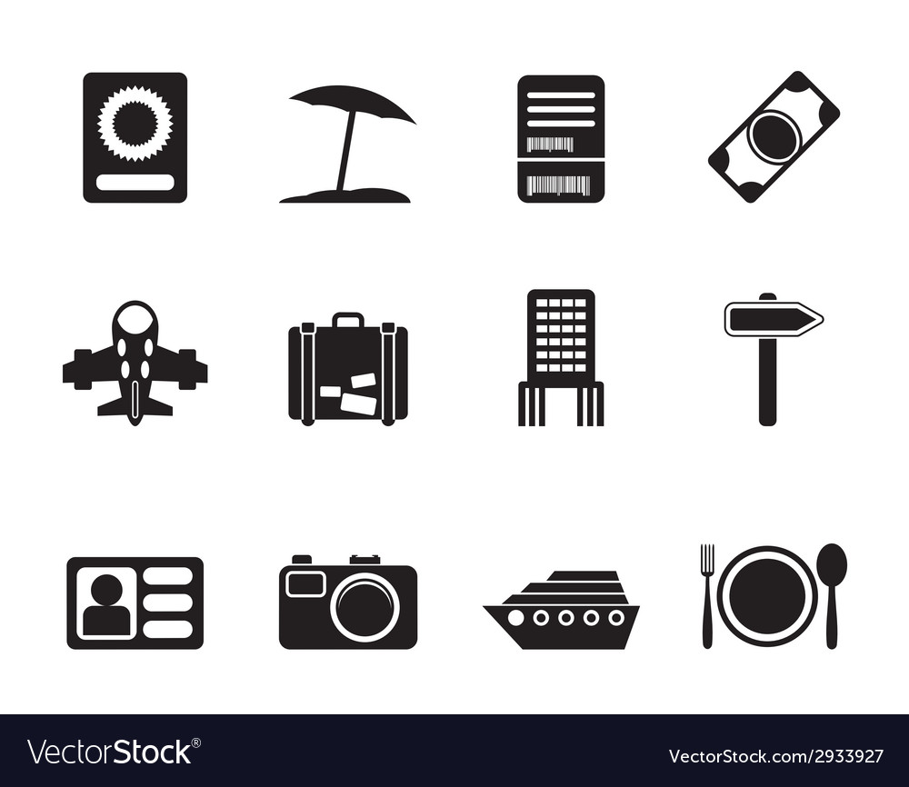 Silhouette travel and holiday icons vector   Price: 1 Credit (USD $1)