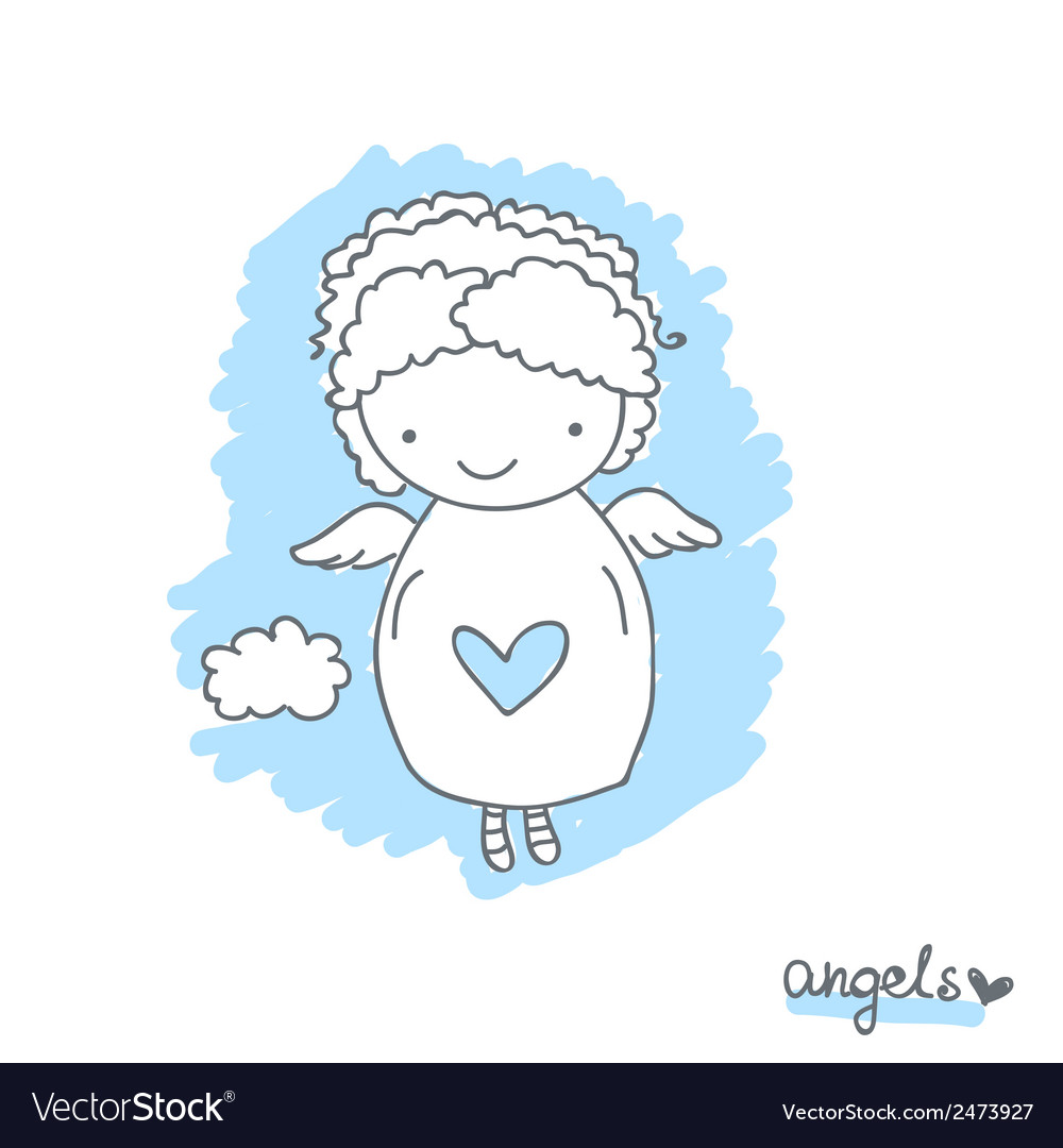 Sketch with cute angel vector | Price: 1 Credit (USD $1)