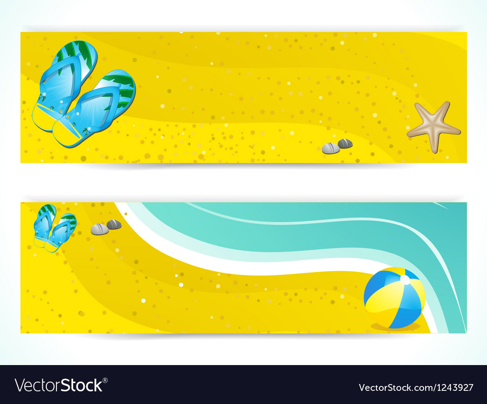 Summer beach and flip flop banners vector | Price: 1 Credit (USD $1)