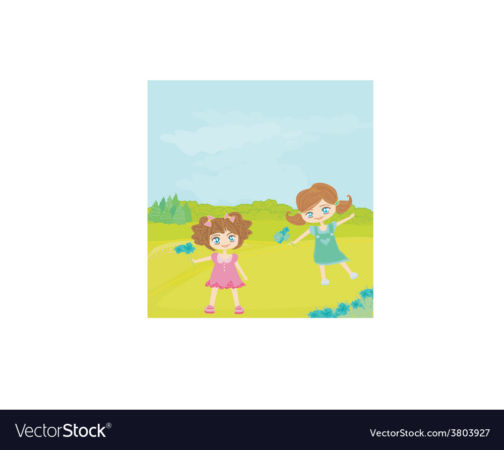 Sweet happy little girls with flowers in the park vector | Price: 1 Credit (USD $1)
