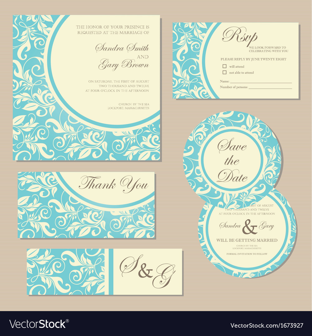 Wedding invitation blue set vector | Price: 1 Credit (USD $1)