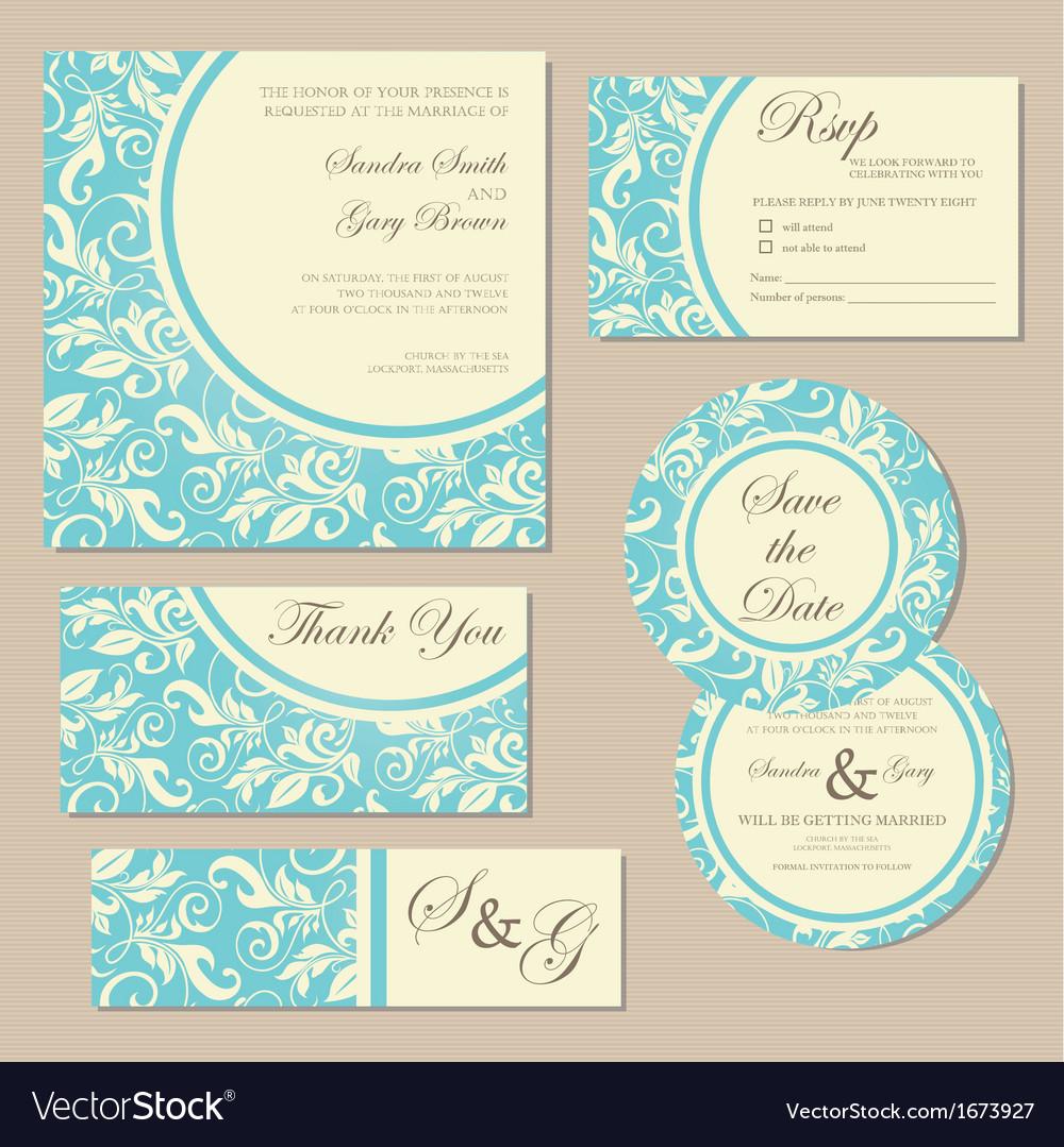 Wedding invitation blue set vector   Price: 1 Credit (USD $1)