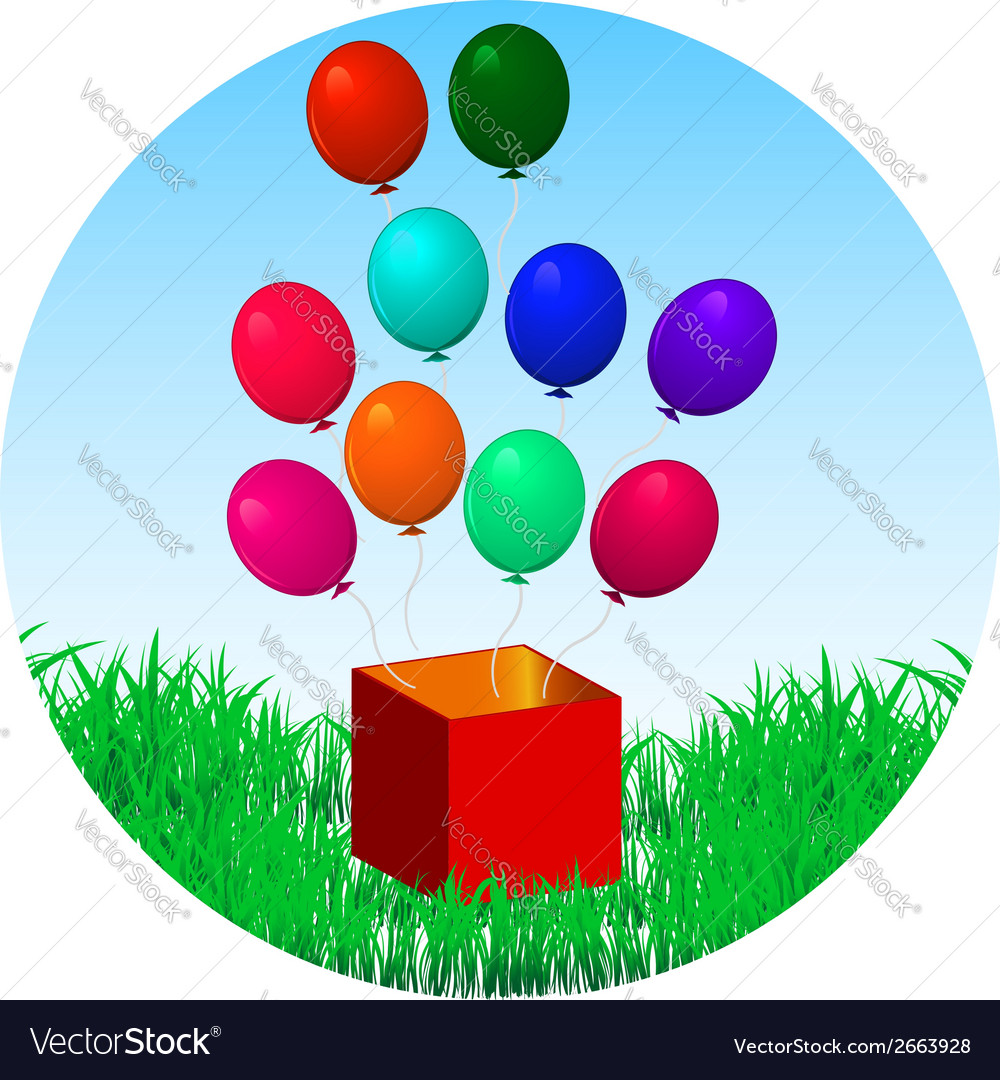 Balloons fly out of gift box on green grass vector | Price: 1 Credit (USD $1)