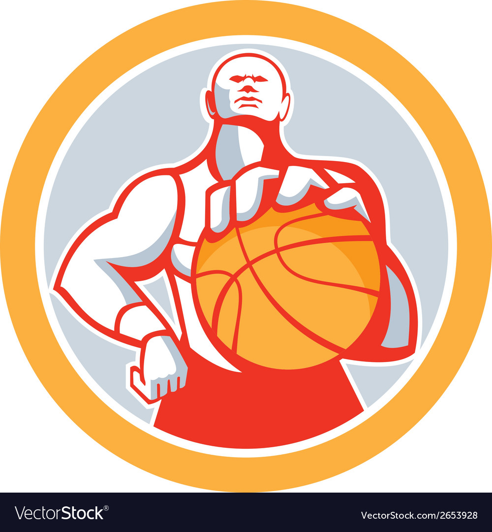 Basketball player with ball circle retro vector | Price: 1 Credit (USD $1)