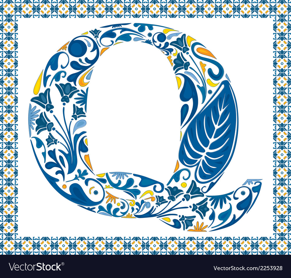 Blue letter q vector | Price: 1 Credit (USD $1)